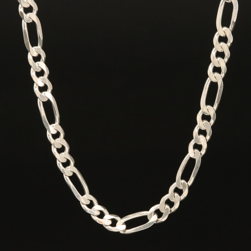 Italian Sterling Silver Figaro Chain Link Necklace