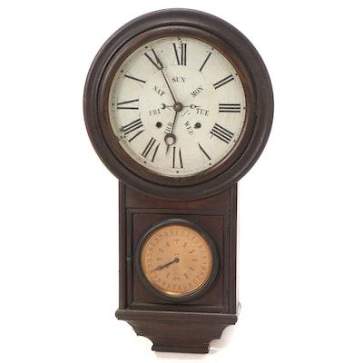 B.B. Lewis Wooden Perpetual Calendar Regulator Wall Clock, Late 19th Century