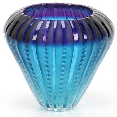Blue Ombre Carved Art Glass Vase