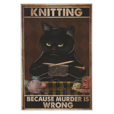 Giclee Poster of Black Cat Knitting, 21st Century