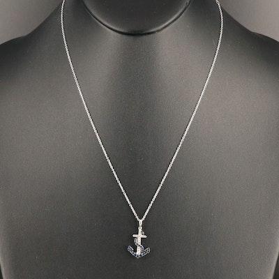 EFFY 14K Natural Sapphire and Diamond Anchor Pendant