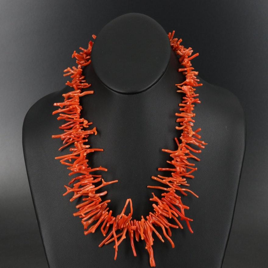 Les Bernard Graduated Branch Coral Necklace