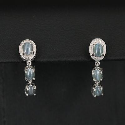Sterling Silver Cat's Eye Chrysoberyl Earrings