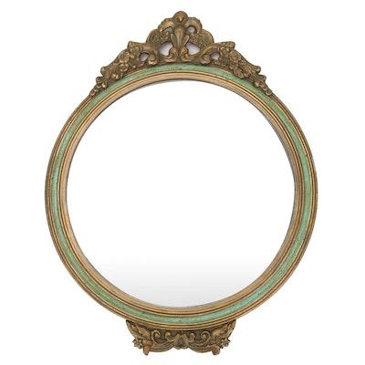 Rococo Style Gilt Wood Framed Round Wall Mirror, Mid-20th Century