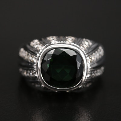 14K Diamond and Tourmaline Bombé Ring
