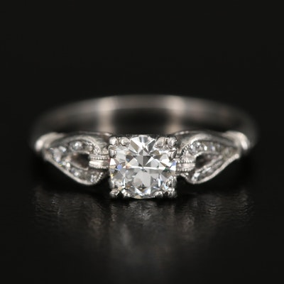 Platinum Diamond Ring with Milgrain Detail and Box