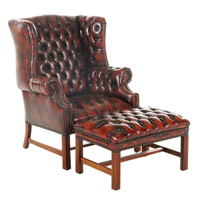 Chippendale Style Button-Tufted Leather Wingback Armchair and Ottoman