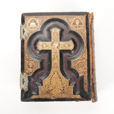 Embossed Leather Bound Illustrated Holy Bible, Late 19th Century