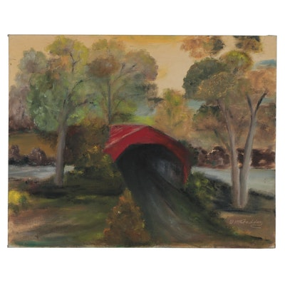 "B. McFadden Landscape Oil Painting ""Covered Bridge,"" Late 20th Century"