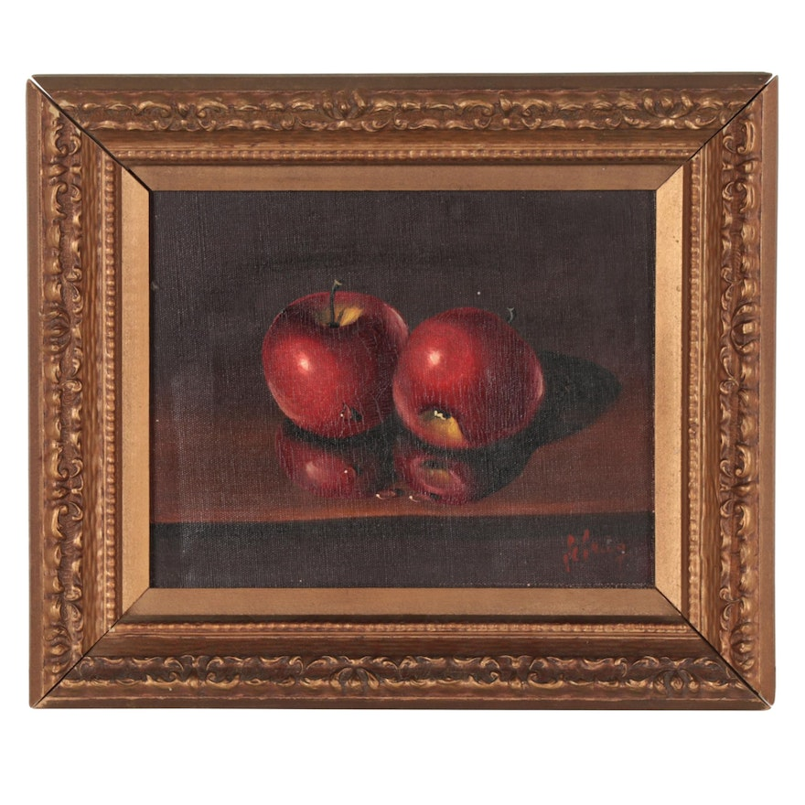 Still Life Oil Painting of Apples, Late 20th Century