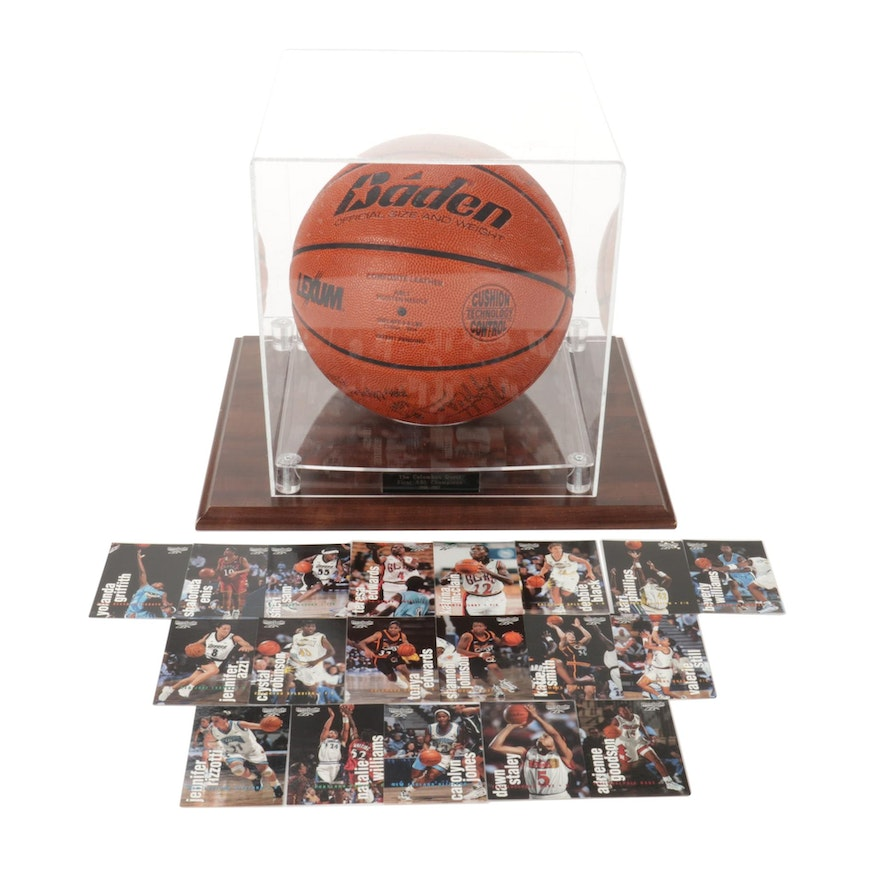 Columbus Quest First ABL Champions Autographed Game Basketball and Trading Cards