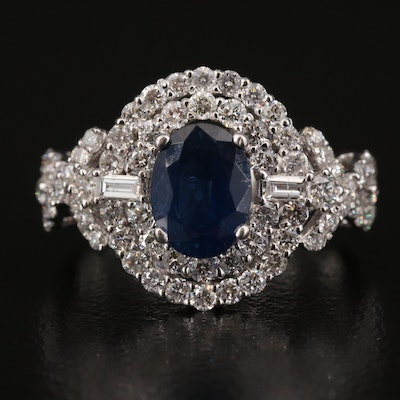 18K 1.83 CT Sapphire and 1.50 CTW Diamond Double Halo Ring