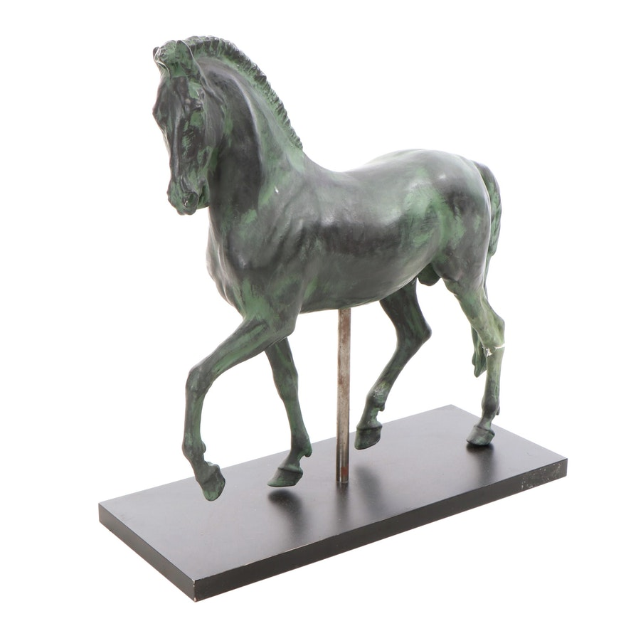 Bronze-Toned Composite Sculpture of Horse
