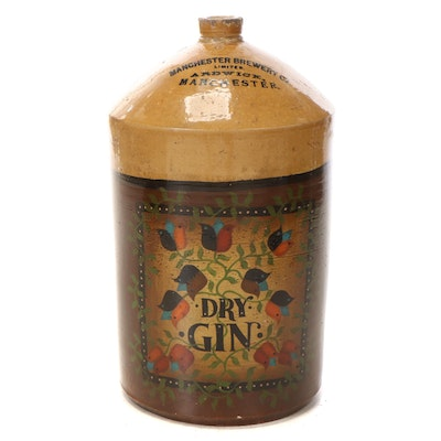 Manchester Brewing Co. Glazed Stoneware Dry Gin Jug, Late 19th Century