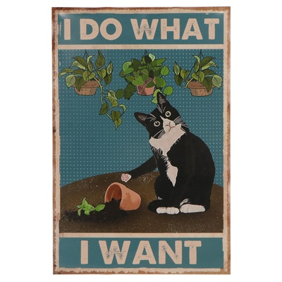 Contemporary Giclée of Cat With Plants