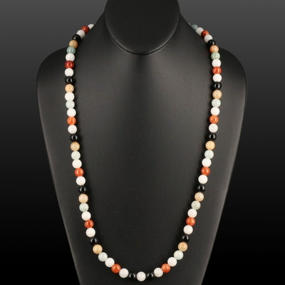 Jadeite, Black Onyx and Quartzite Beaded Necklace