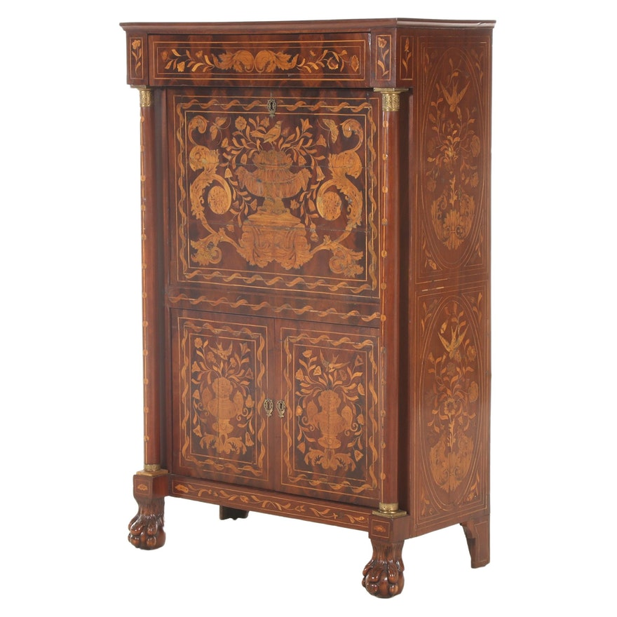 Dutch Marquetry and Walnut Secrétaire à Abattant, Early 20th Century