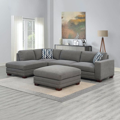"""""""Penelope"""" Fabric Sectional Sofa with Ottoman"""