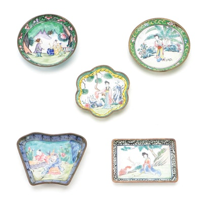 Chinese Genre Scene Enameled Metal Dishes