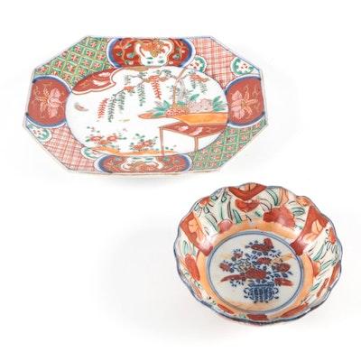 Japanese Imari Painted Porcelain Platter and Bowl