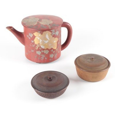 Japanese Lidded Bowls with Urushi Lacquerware Sobayu Hot Water Pot