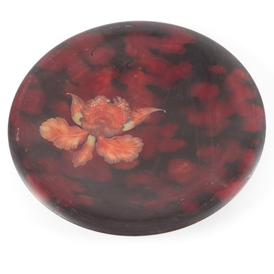 Maruni of Japan Floral Lacquerware Wall Plate, Mid-20th Century