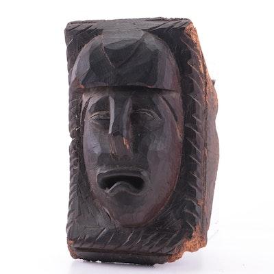 Hand-Carved Figural Wooden Corbel