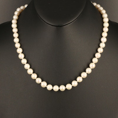 Semi-Baroque Pearl Necklace with 18K Clasp
