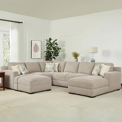 "Gilman Creek Furniture ""Ruston"" Four-Piece Fabric Sectional in Beige"