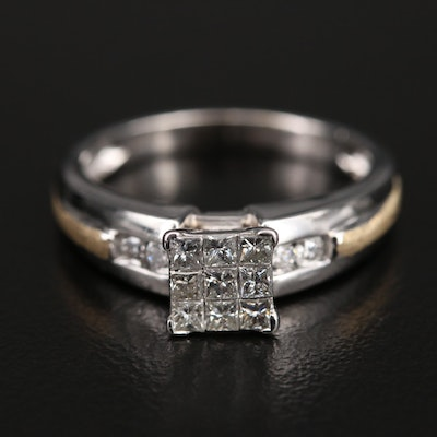 14K Invisible Set Diamond Ring with Brushed Finish Accent