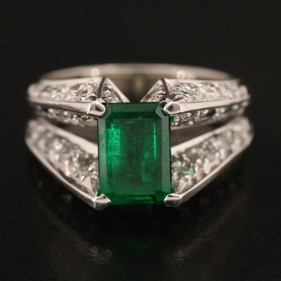 Jose Hess 18K Emerald and 2.06 CTW Diamond Cathedral Ring