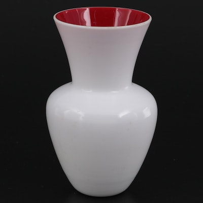 Cased Opal Glass Vase With Red Interior