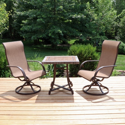 Sunbrella Metal Patio Chairs and Tile Top Table