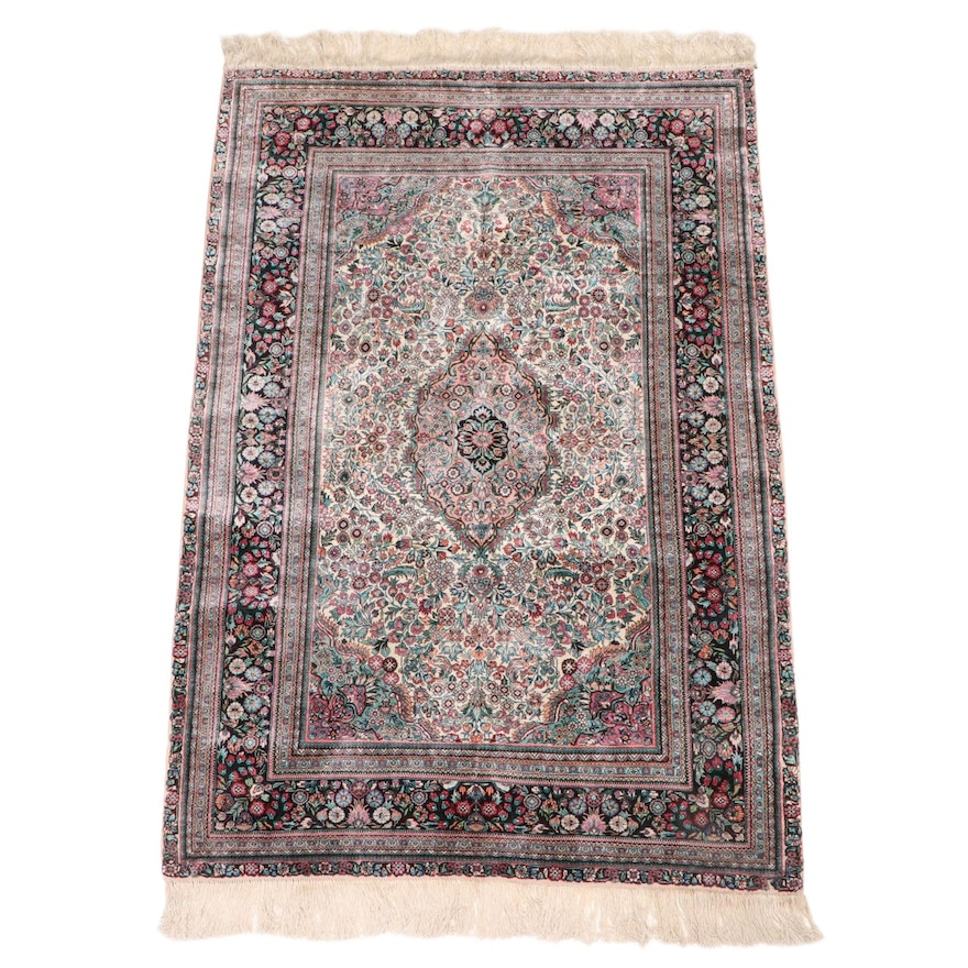 4'1 x 6'8 Hand-Knotted Royal Rug Co. Chinese Silk Floral Area Rug