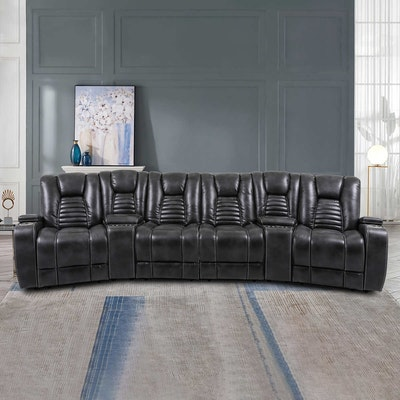 """Cheers """"Alameda"""" Fabric Power Reclining Home Theater Sectional"""