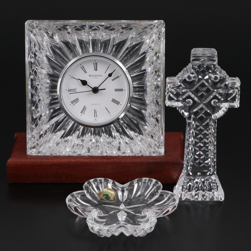 Waterford Cut Crystal Shelf Clock with Celtic Cross and Shamrock Trinket Dish