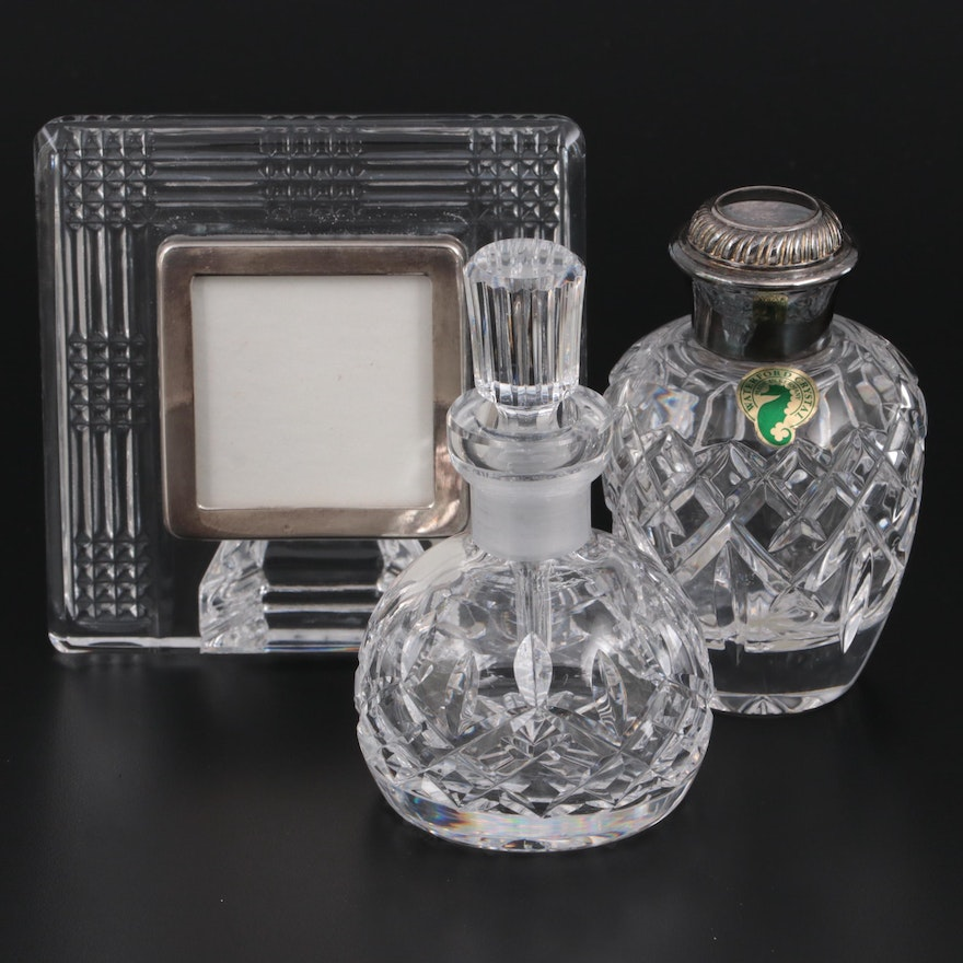"""Waterford Crystal """"Lismore"""" and """"Iveagh"""" Perfume Bottles with Picture Frame"""