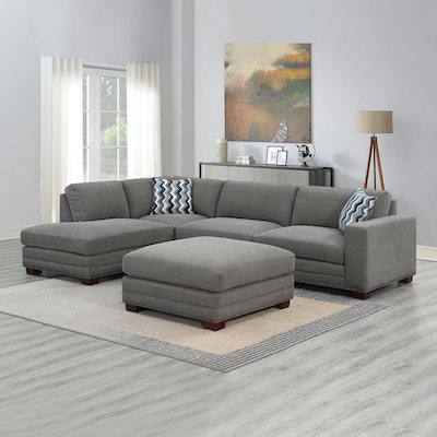 """""""Penelope"""" Fabric Sectional with Ottoman in Gray"""