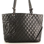 Chanel Ligne Cambon Large Tote in Black Quilted Lambskin