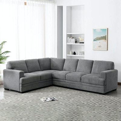 """""""Medford"""" Two-Piece Fabric Sectional in Gray"""