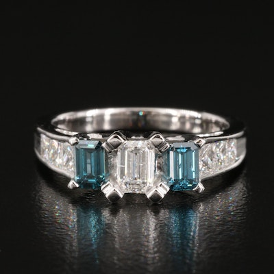 18K 1.48 CTW Diamond Ring with Channel Shoulders