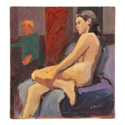"Stephen Hankin Oil Painting ""Female Nude Seated Holding Left Shin"""