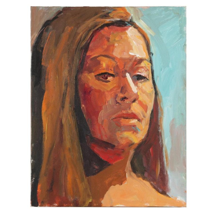 """Stephen Hankin Acrylic Painting """"Portrait of Joanna,"""" 21st Century"""
