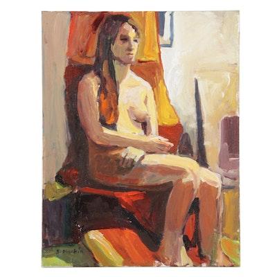 "Stephen Hankin Acrylic Painting ""Female Model, Long Dark Hair,"" Circa 2019"