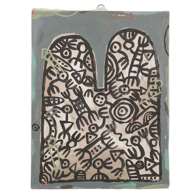 Michael Sweeney Acrylic Painting of Abstract Forms, 21st Century