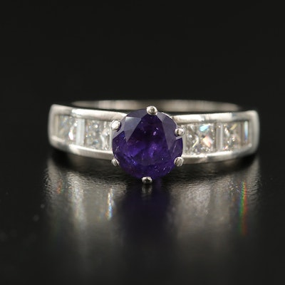 Platinum 1.50 CT Sapphire and Diamond Ring with GIA Sapphire Report
