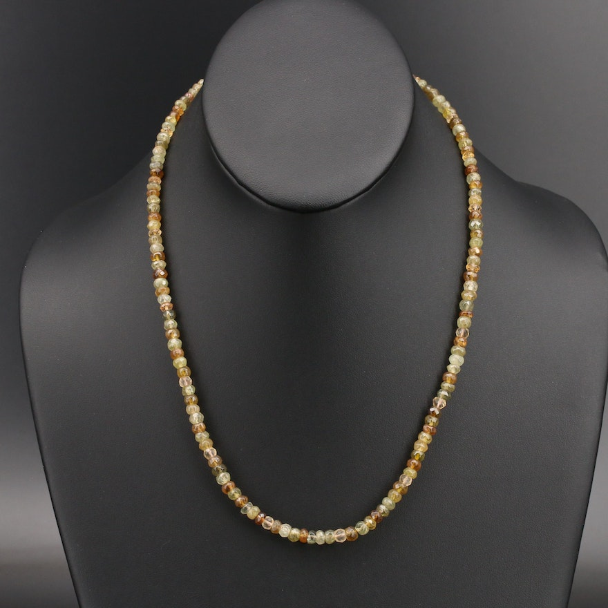 Peridot, Citrine and Tourmaline Faceted Beaded Necklace