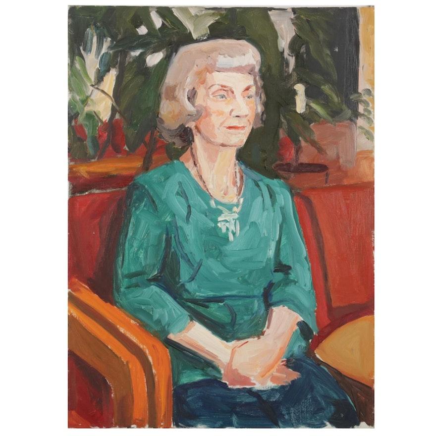 "Stephen Hankin Oil Painting ""Senior Center: Woman in Green Top,"" Circa 1980"