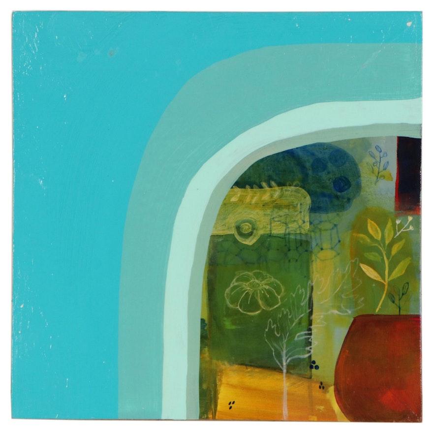"Lindsay D. Nehls Acrylic Painting ""Sap Green,"" 2021"