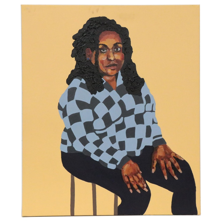 Nytaya Babbitt Large-Scale Portrait Acrylic Painting of Seated Woman, 2020